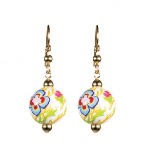 GOLDEN PANSIES CLASSIC BEAD EARRINGS - GOLD by Angela Moore - Hand Painted Earrings