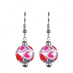 LOVE & KISSES CLASSIC BEAD EARRINGS - SILVER by Angela Moore - Hand Painted Earrings