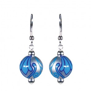 BLUE HEAVEN CLASSIC BEAD EARRINGS - SILVER by Angela Moore - Hand Painted Earrings