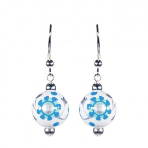 LUXE LIFE CLASSIC BEAD EARRINGS - SILVER by Angela Moore - Hand Painted Earrings