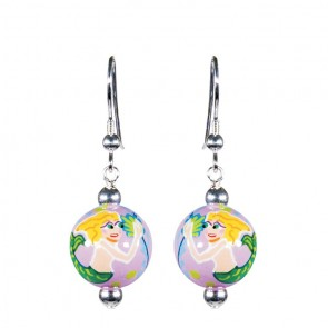 MERRY MERMAIDS CLASSIC BEAD EARRINGS - SILVER by Angela Moore - Hand Painted Earrings