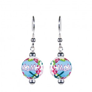 MAMMA MIA CLASSIC BEAD EARRINGS - SILVER by Angela Moore - Hand Painted Earrings