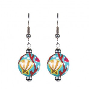 CORAL REEF CLASSIC BEAD EARRINGS - SILVER by Angela Moore - Hand Painted Earrings