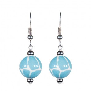 GIRAFFE AQUA CLASSIC BEAD EARRINGS - SILVER by Angela Moore - Hand Painted Earrings