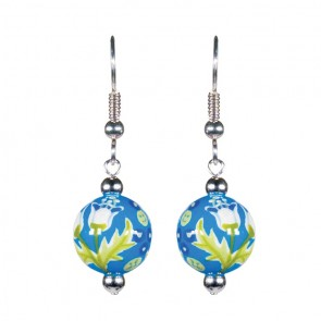 SUMMERTIME BLUES CLASSIC BEAD EARRINGS - SILVER by Angela Moore - Hand Painted Earrings