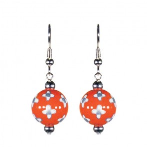 DESERT BLOOM SPICE CLASSIC BEAD EARRINGS - SILVER by Angela Moore - Hand Painted Earrings