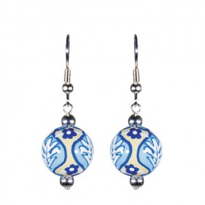 DESERT BLOOM BLUE CLASSIC BEAD EARRINGS - SILVER by Angela Moore - Hand Painted Earrings