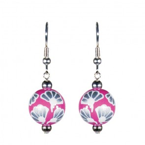FRENCH LACE PINK CLASSIC BEAD EARRINGS - SILVER by Angela Moore - Hand Painted Earrings
