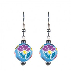 FRENCH LACE MULTI CLASSIC BEAD EARRINGS - SILVER by Angela Moore - Hand Painted Earrings