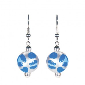 LEOPARD LIFE BLUE CLASSIC BEAD EARRINGS - SILVER by Angela Moore - Hand Painted Earrings