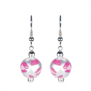 LEOPARD LIFE PINK CLASSIC BEAD EARRINGS - SILVER by Angela Moore - Hand Painted Earrings