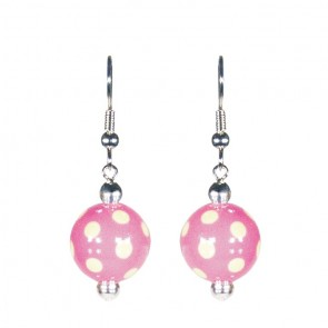 DRAMA DOTS PINK/GREEN CLASSIC BEAD EARRINGS - SILVER by Angela Moore - Hand Painted Earrings