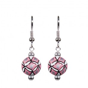 PRINCESS RULES CLASSIC BEAD EARRINGS - SILVER by Angela Moore - Hand Painted Earrings