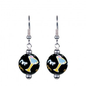 COCKTAIL TIME CLASSIC BEAD EARRINGS - SILVER by Angela Moore - Hand Painted Earrings