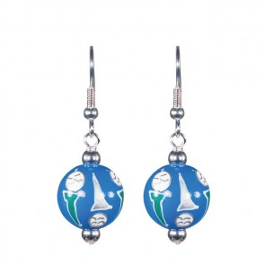 GORGEOUS GOLF CLASSIC BEAD EARRINGS - SILVER by Angela Moore - Hand Painted Earrings