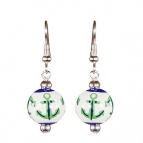 ANCHORS AWAY NAVY/KELLY CLASSIC BEAD EARRINGS - SILVER
