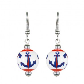 ANCHORS AWAY NAVY/RED CLASSIC BEAD EARRINGS - SILVER by Angela Moore