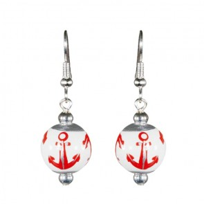 ANCHORS AWAY RED/SILVER CLASSIC BEAD EARRINGS - SILVER by Angela Moore
