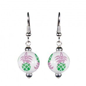 PINEAPPLE PATCH PINK/GREEN CLASSIC BEAD EARRINGS - SILVER by Angela Moore