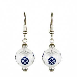 PINEAPPLE PATCH NAVY/SILVER CLASSIC BEAD EARRINGS - SILVER