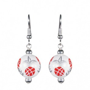 PINEAPPLE PATCH RED/SILVER CLASSIC BEAD EARRINGS - SILVER