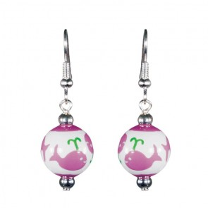 WHALE WATCH PINK/GREEN CLASSIC BEAD EARRINGS - SILVER by Angela Moore