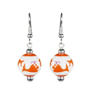 WHALE WATCH PINK/ORANGE CLASSIC BEAD EARRINGS - SILVER by Angela Moore