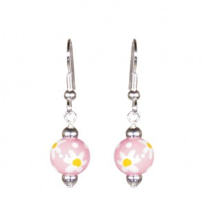 DAISY DAISY PINK PETITE BEAD EARRINGS