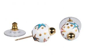 STARFISH PEARL POST EARRINGS - GOLD by Angela Moore - Hand Painted Earrings