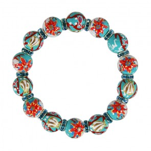 CORAL REEF RELAXED FIT BRACELET - AQUA SWAROVSKI CRYSTALS