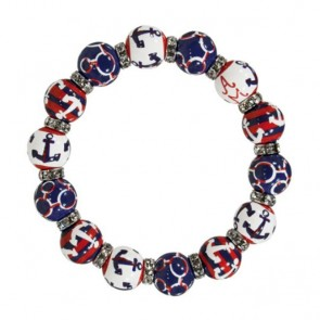 ANCHORS AWAY NAVY/RED RELAXED FIT BRACELET - CLEAR SWAROVSKI CRYSTALS