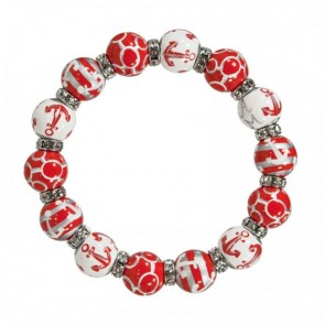 ANCHORS AWAY RED/SILVER RELAXED FIT BRACELET - CLEAR SWAROVSKI CRYSTALS