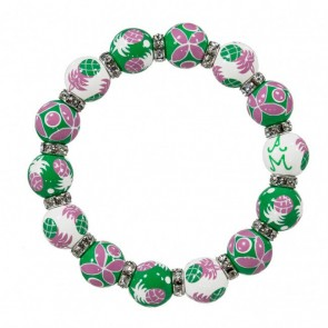 PINEAPPLE PATCH PINK/GREEN RELAXED FIT BRACELET - CLEAR SWAROVSKI CRYSTALS
