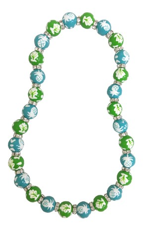 NEWPORT WELCOME LIME/TURQUOISE CLASSIC BEAD NECKLACE W/CLEAR SWAROVSKI CRYSTALS