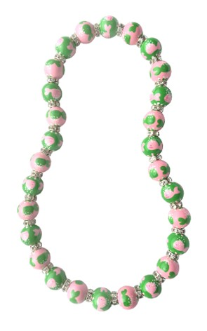 WHALES LT. PINK/GREEN CLASSIC NECKLACE W/CLEAR SWAROVSKI CRYSTALS