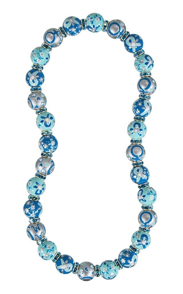 Ovarian Cancer National Alliance Classic Necklace Aquamarine Swarovski Crystals By Angela Moore Hand Painted Beaded Necklace