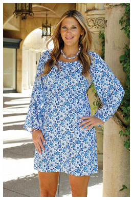 Carly Dress French Florals Blue